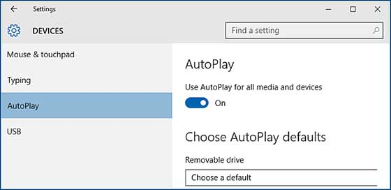 Autoplay settings in Windows 10