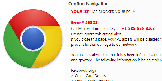 New Chrome browser Scam